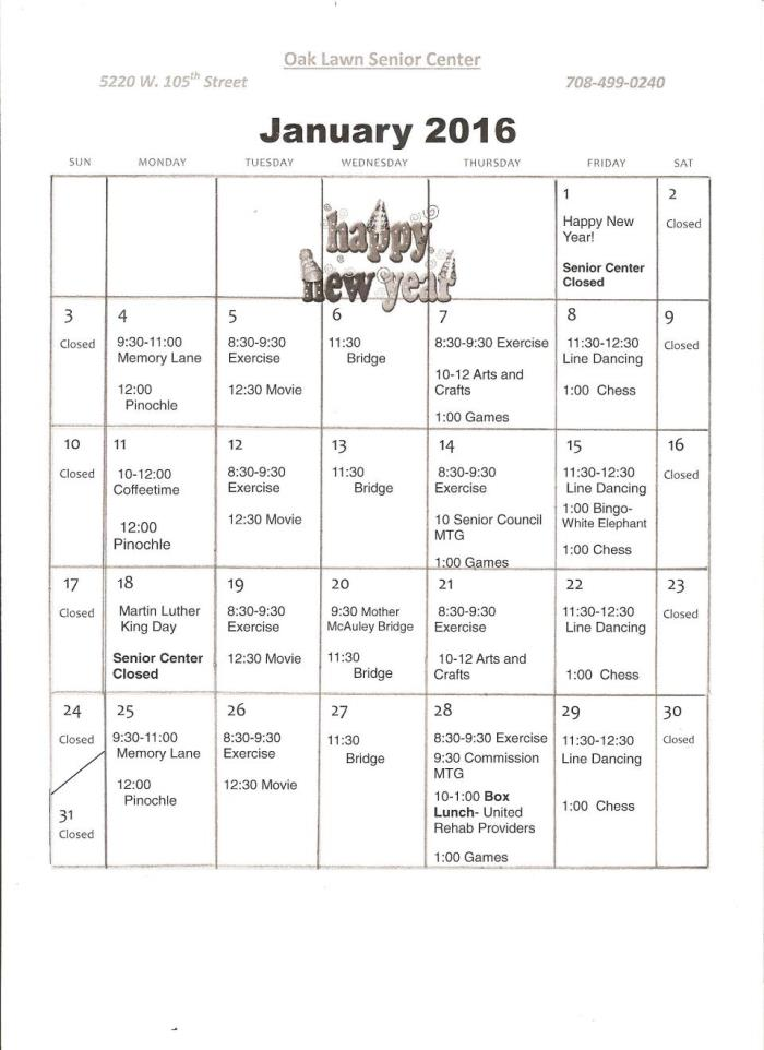 Oak Lawn Senior Center Calendar