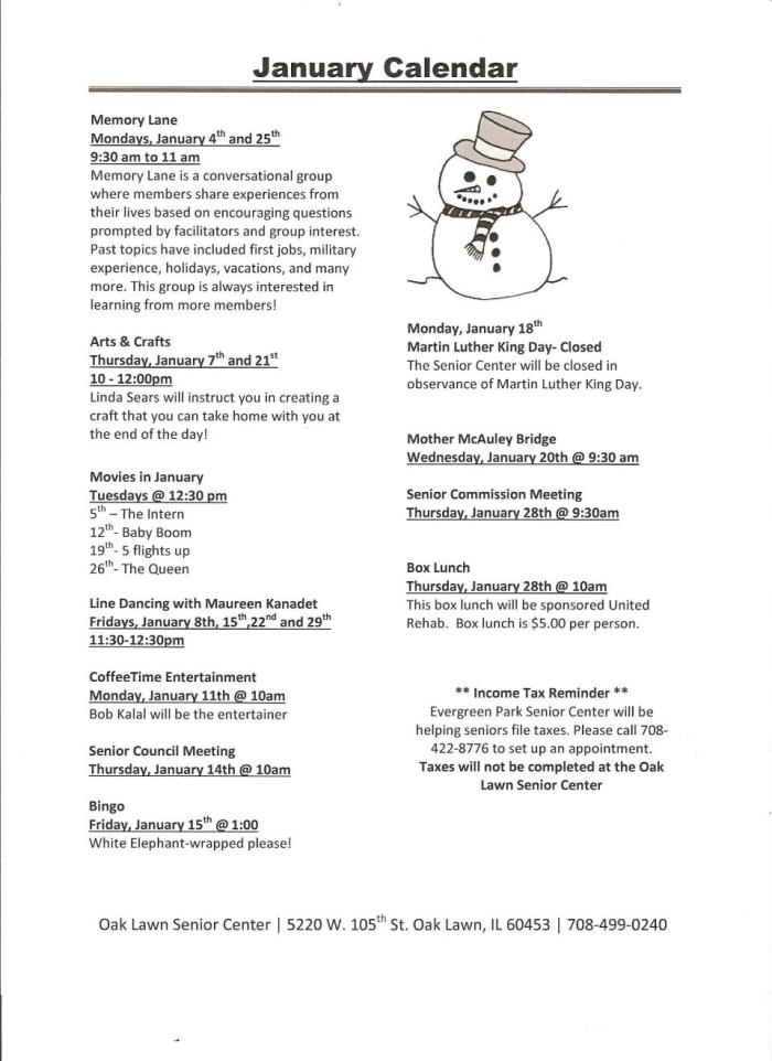 Oak Lawn Senior Center Jan Events