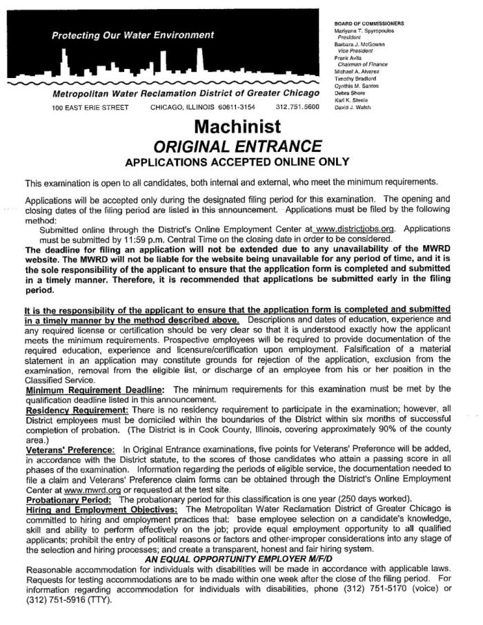 Machinist position MWRD